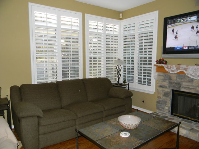 Adding shutters into your family room allows you to watch TV without distracting glare.